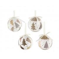 Bola árbol de Navidad blanca estampado Arboles de Navidad 7,5cm