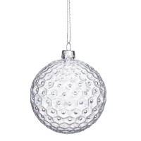 Bola árbol de Navidad cristal relieve brillantes 8cm