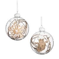 Bola árbol de Navidad cristal Rustic ramas y nieve 8cm