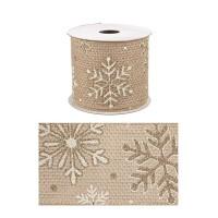 Rollo lazo cinta regalo navidad marrón dorado con copos de nieve 6,3cm x 4 m