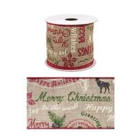 Rollo lazo cinta regalo navidad marrón con letras colores Merry Christmas 6,3cm x 4 m