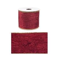 Rollo lazo cinta regalo navidad roja terciopelo con borde dorado 6,3cm x 4 m