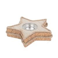 Tealight navideño madera y corcho forma de estrella 12xh2,5cm