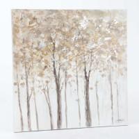 Lienzo cuadro oleo bosque en tonos beige 80x80cm