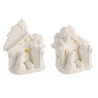 Belén navideño con luz porcelana blanca grande 2 modelos 14,5x10x16,8h cm