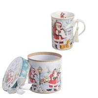 Mug porcelana Papa Noel en caja regalo 12,3x11,2h cm