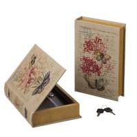Caja libro con llave de seguridad Flowers mariposa 16x5x24 cm