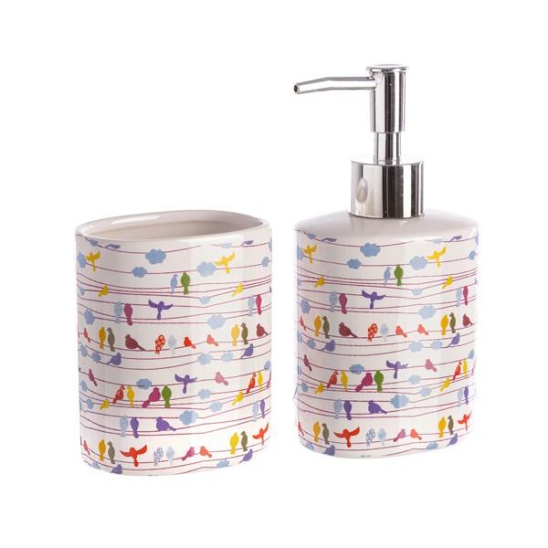 Set baño 2 piezas cerámicas blanco estampado pajaros colores  dispensador  jabón y portacepillos d7b63ed4b009