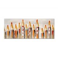 Lienzo cuadro apaisado lápices naranja y rojos 100x40cm