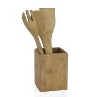 Porta utensilios bote con espátula, cuchara y tenedor todo en madera bambú 10x10x32cm