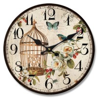 Reloj de pared mdf jaula flores 33,8cm