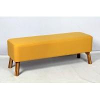 Pie de cama patas madera y color mostaza 121x39xh44cm
