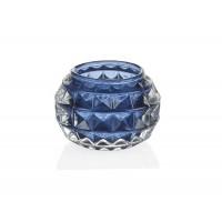 Tealight vaso cristal azul con relieve 7,5xh5cm