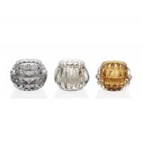 Set 3 Tealights vasos cristal plata, dorado y transparente con relieve porta velas 7,5xh5cm