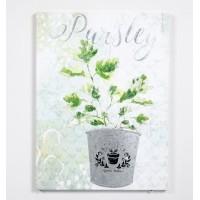 Lienzo cuadro con relieve en metálico maceta planta 30x40cm