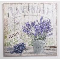 Lienzo cuadro con relieve en metálico maceta planta lavanda Home 50x50cm