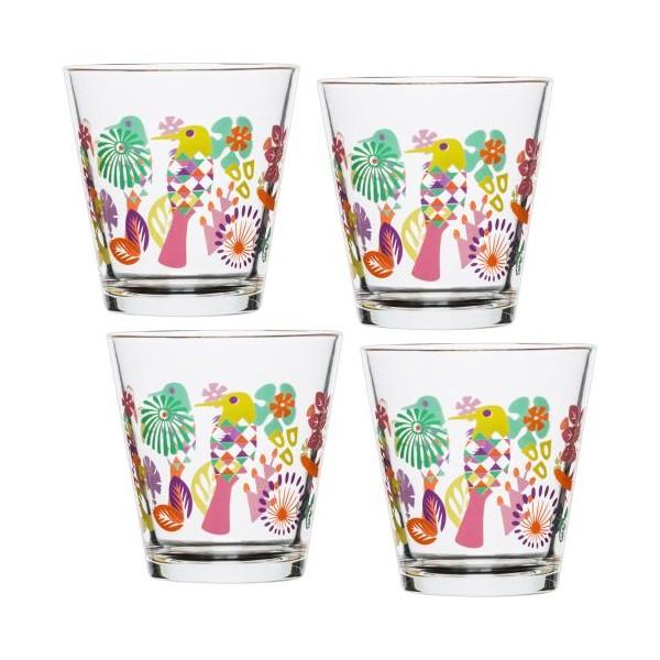 Set 4 Vasos De Agua Cristal Decorado Colores Fantasy 200ml Menaje