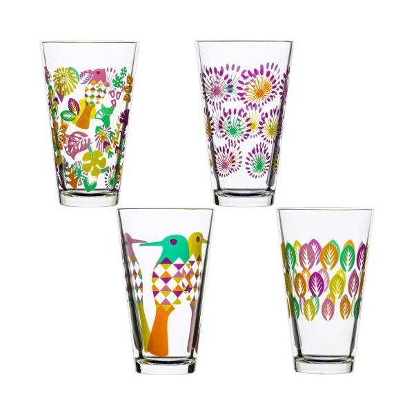 Set 4 Vasos Para Refrescos Cristal Decorado Colores Fantasy 300ml