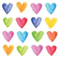 Servilletas cuadradas Corazones colores acuarela Aquarell Hearts PPD 33x33cm