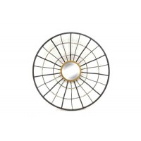 Espejo redondo marco metálico negro y dorado 46x9,5x46cm