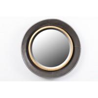 Espejo redondo marco metálico dorado y negro 60x8cm