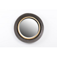 Espejo redondo marco metálico dorado y negro 51,5x7cm