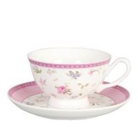 Taza con plato para té porcelana decorada flores rosas 15cm 200ml