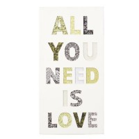 Cuadro madera con relieve All you need is love 30x60cm