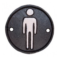 Placa metálica redonda Toilette Hombre 8cm