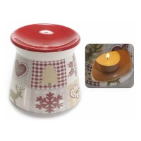 Quemador porcelana estampado navideño para aceites esenciales 10x9cm