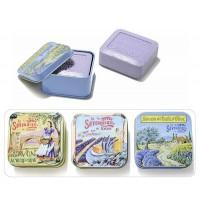 Pastilla de jabón lavanda en caja de metal decorada 100gr