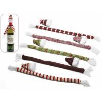 Bufanda y gorro lana navideños para decorar botellas