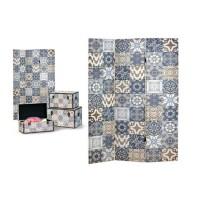 Biombo 3 paneles estampado azulejos azul y beige 120x2,5x180cm