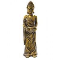 Figura resina Buda alto portavelas dorado 21x23x76cm