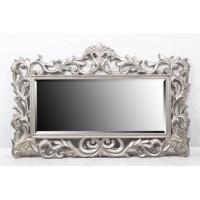 Espejo rectangular marco barroco plateado con adorno superior 180x5x114 cm