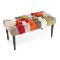 Pie de cama patas madera patchwork rojo, naranja, verde y marrón 80x40xh43cm