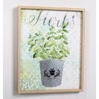 Lienzo cuadro con relieve en metálico maceta planta Herbs 40x50cm