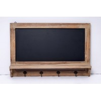 Perchero madera rectangular con 4 colgadores y pizarra 60x40cm