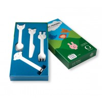 Set 4 cubiertos infantiles Friends acero inoxidable en caja regalo