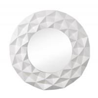 Espejo redondo marco resina blanco geométrico Origami 100 cm