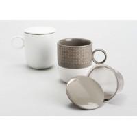 Taza tisanera con filtro metálico marrón o blanca Ines 400ml