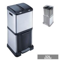 Papelera reciclaje acero inoxidable 3 departamentos con tapa 32 litros