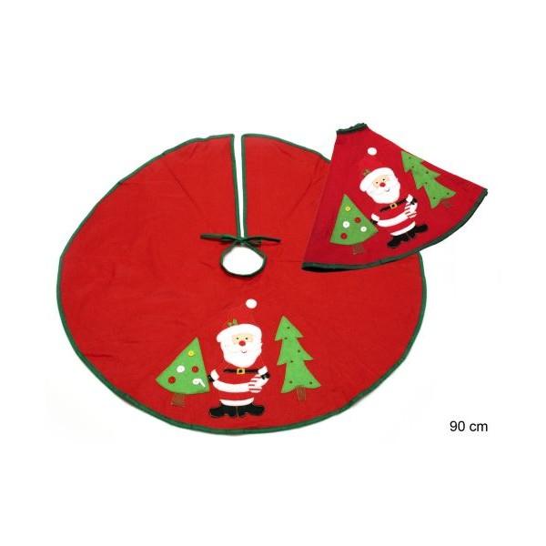 Falda cubre pie de árbol de Navidad rojo con Papa Noel 90 cm