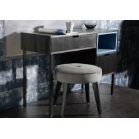 Mesa escritorio madera negra con 2 cajones y estante azul 110x40x75cm