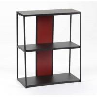 Estantería auxiliar 2 baldas metálica negra con reverso rojo o blanco 50x25x60cm
