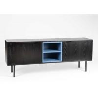 Mueble bajo televisión DM y metal negro y azul 156x35x60h cm
