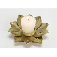 Portavelas dorado metálico forma flor 12cm