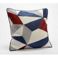 Cojín algodón con relleno geométrico granate y azul triángulos 40x40 cm