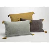 Cojin rectangular con relleno terciopelo mostaza, gris o antracita 30x50cm