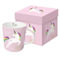 Mug decorado rosa con Unicornio Arco Iris Pink Unicorn PPD 35cl